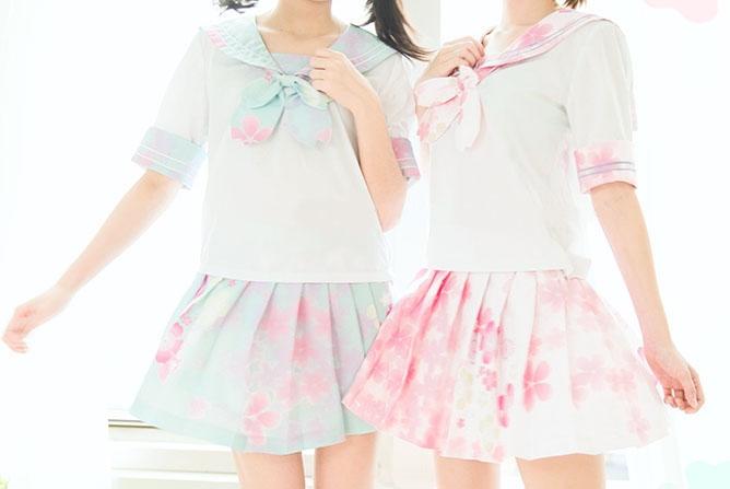 Ljusrosa cherry blossom sailor-kjol 04cc82c65356b