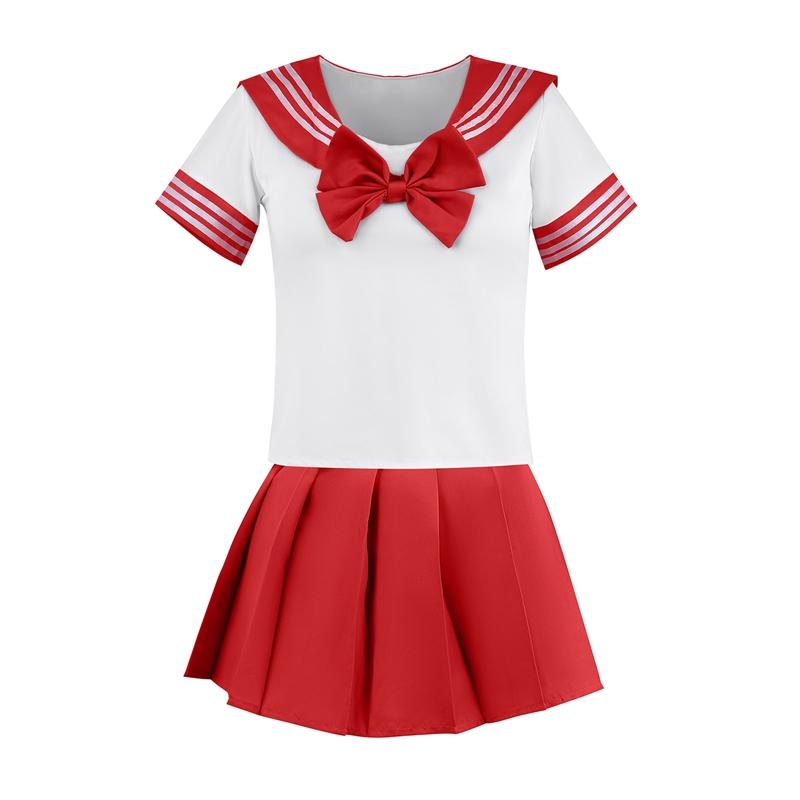 Röd sailor-set skjorta och kjol 2b152bd00e058